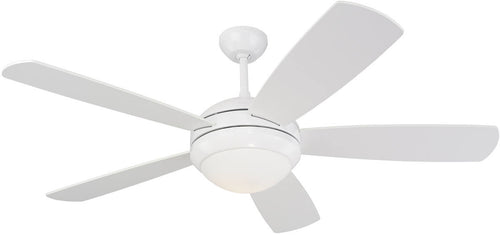 Monte Carlo Fans Discus 52 5-Blade Ceiling Fan with Light Kit White 5DI52WHDL