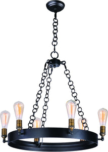 Maxim Noble 6-Light Chandelier with Bulbs 26273BKNABBUI
