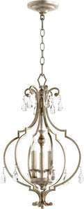 Quorum Ansley 3-light Entry Foyer Hall Chandelier Aged Silver Leaf