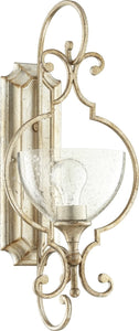 Quorum Ansley 1-light Wall Mount Light Fixture Aged Silver Leaf