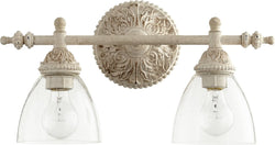 Quorum 2-light Bath Vanity Light Persian White w/ Clear/Seeded