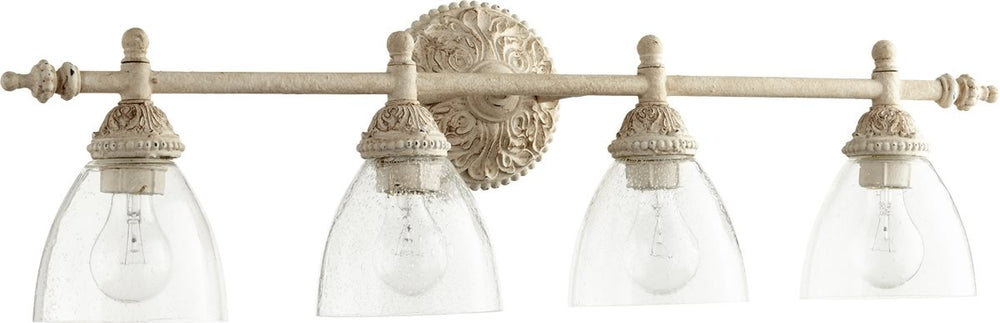 "32""W 4-light Bath Vanity Light Persian White w ClearSeeded"