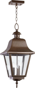 Quorum Bishop 3-Light Outdoor Hanging Pendant Oiled Bronze 7031386