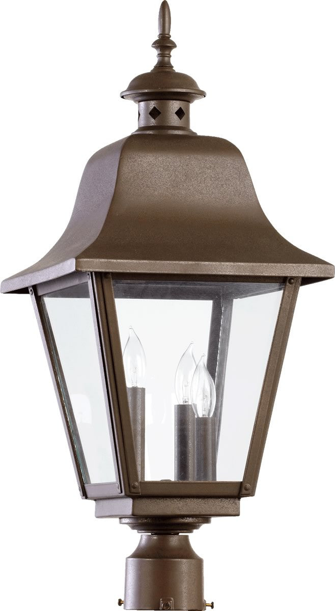 "25""H Bishop 3-Light Outdoor Post Lantern Oiled Bronze"