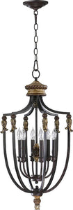 "16""W Capella 6-Light Hall/Foyer Pendant Toasted Sienna/Golden Fawn"