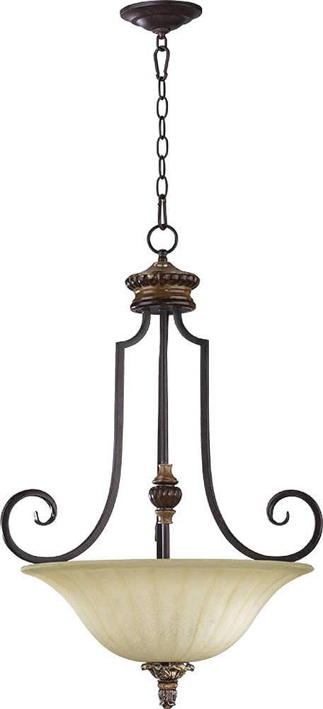 "22""W Capella 3-Light Pendant Toasted Sienna/Golden Fawn"