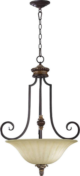 Quorum Capella 3-Light Pendant Toasted Sienna/Golden Fawn 8101344