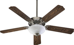 Quorum Capri III 2-Light 52 5-Blade Ceiling Fan Satin Nickel 775259565