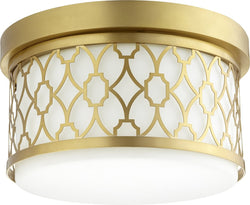 Quorum 2-light Ceiling Flush Mount Aged Brass
