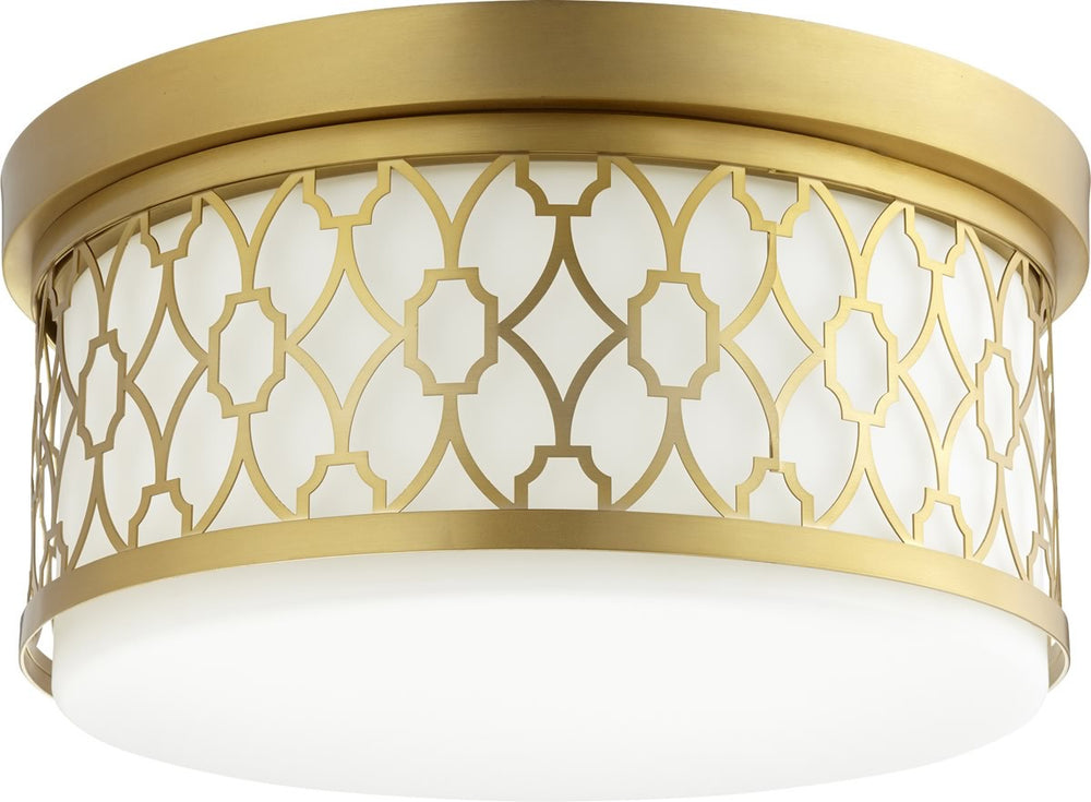 "14""W 3-light Ceiling Flush Mount Aged Brass"