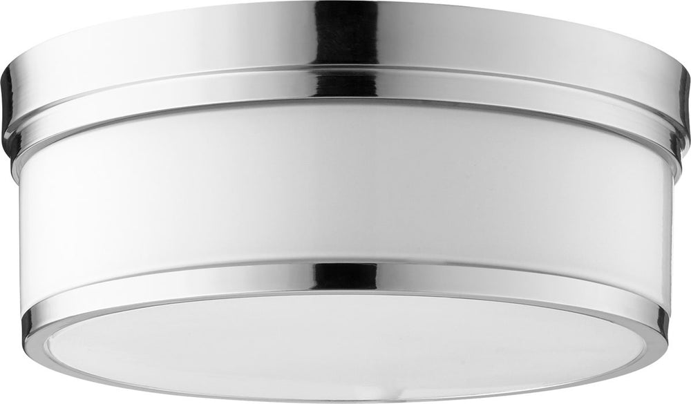 "14""W Celeste 3-light Ceiling Flush Mount Polished Nickel"