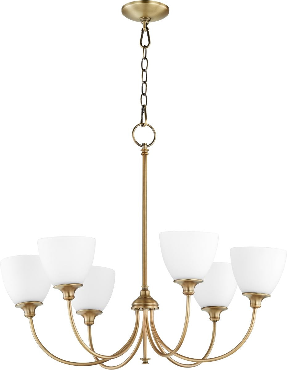 "Quorum 28""W Celeste 6-light Chandelier Aged Brass 6109-6-80"