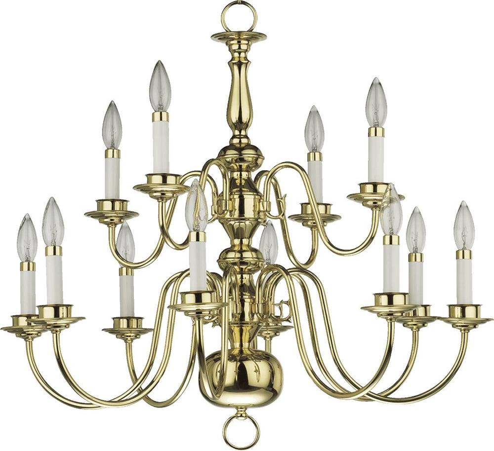 12-Light Polished Brass Plated Chandelier