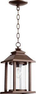 "7""w Crusoe 1-Light Outdoor Pendant Light Oiled Bronze"