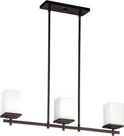 "32""w Delta 3-Light Pendant Oiled Bronze"