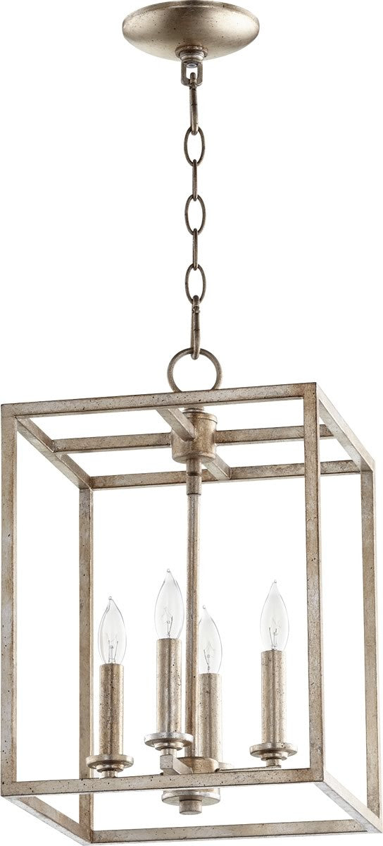 "11""W 4-light Entry Foyer Hall Chandelier Aged Silver Leaf"