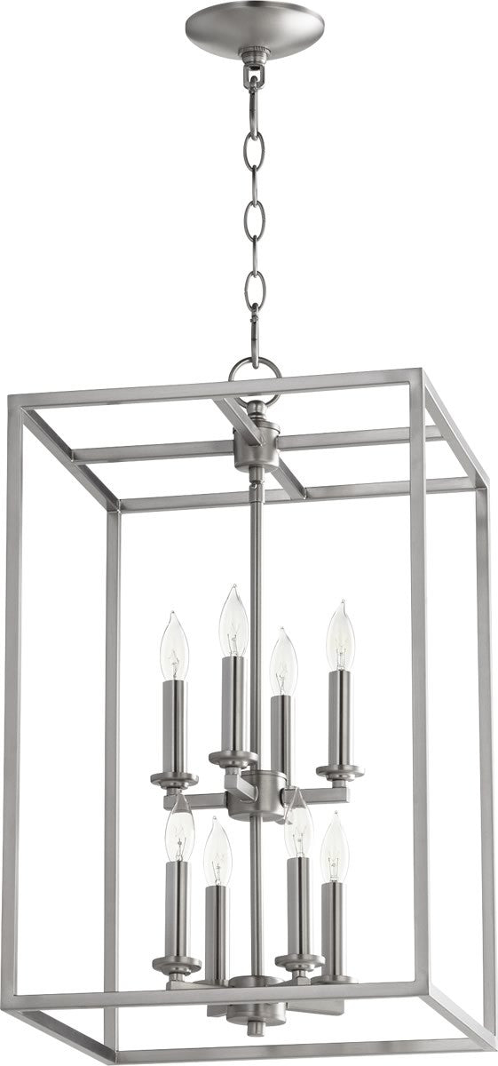 "14""W 8-light Entry Foyer Hall Chandelier Satin Nickel"