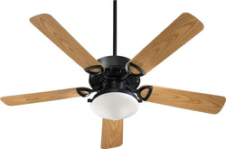 Quorum Estate Patio 2-Light Indoor/Outdoor 52 5-Blade Patio Ceiling Fan Matte Black 143525959