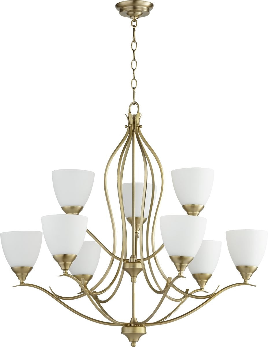 "29""W Flora 9-light Chandelier Aged Brass"