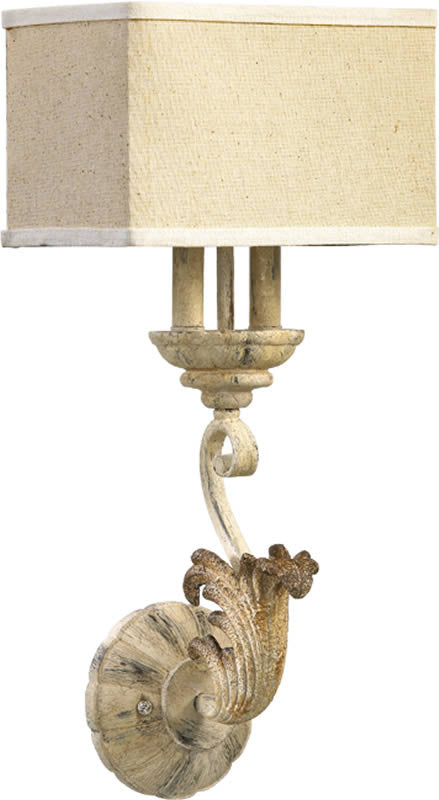 "11""W Florence 2-Light Wall Sconce Pachment White"