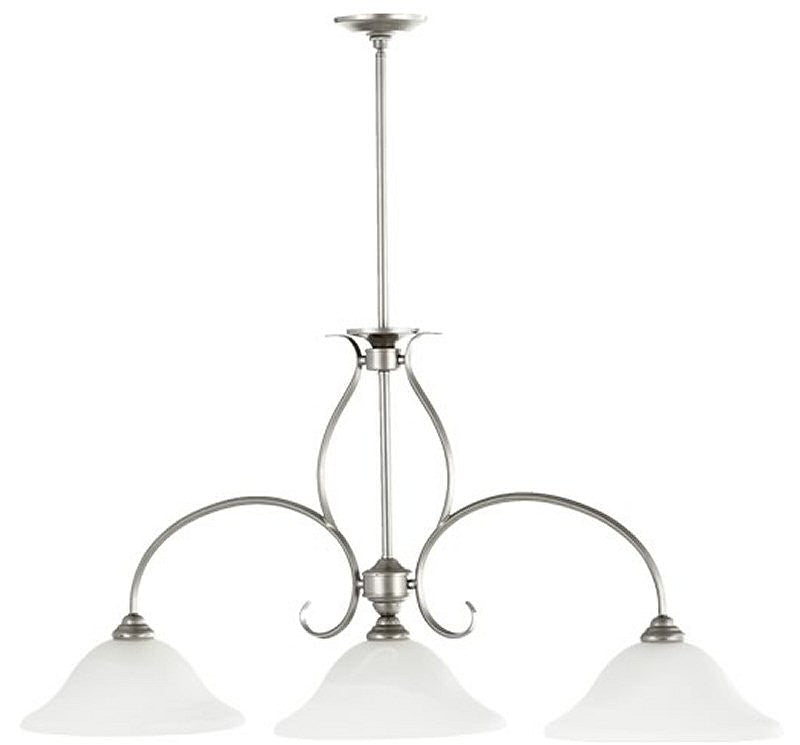 "45""W 3-Light Kitchen Island Light Classic Nickel"