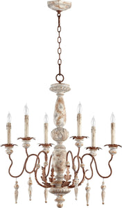 Quorum La Maison 6-Light Chandelier Manchester Grey with Rust Accents 6052656