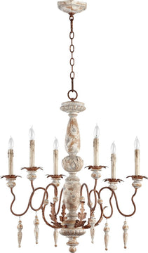 "26""W La Maison 6-Light Chandelier Manchester Grey with Rust Accents"