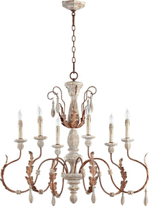 Quorum La Maison 6-Light Chandelier Manchester Grey with Rust Accents 6152656