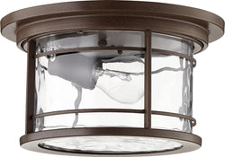 Larson 1-light Outdoor Flush Mount Oiled Bronze w/ Clear Hammered Glass