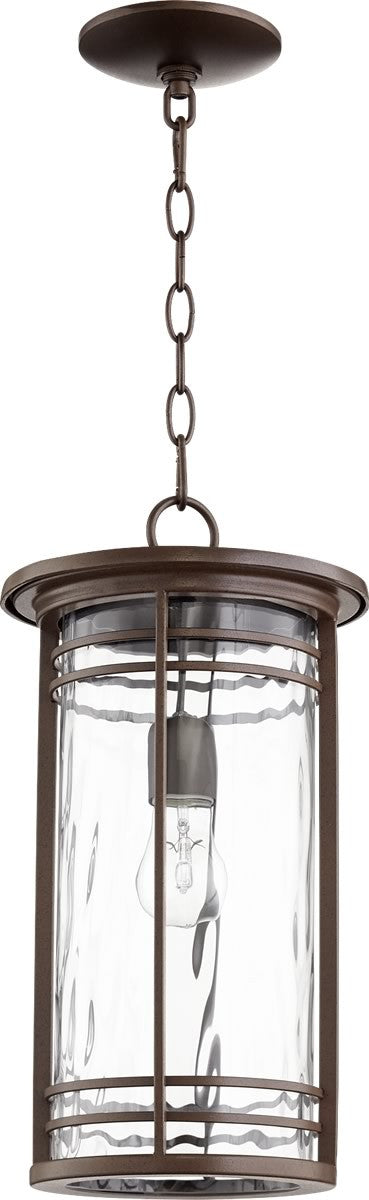 "9""W Larson 1-light Outdoor Pendant Light Oiled Bronze w/ Clear Hammered Glass"