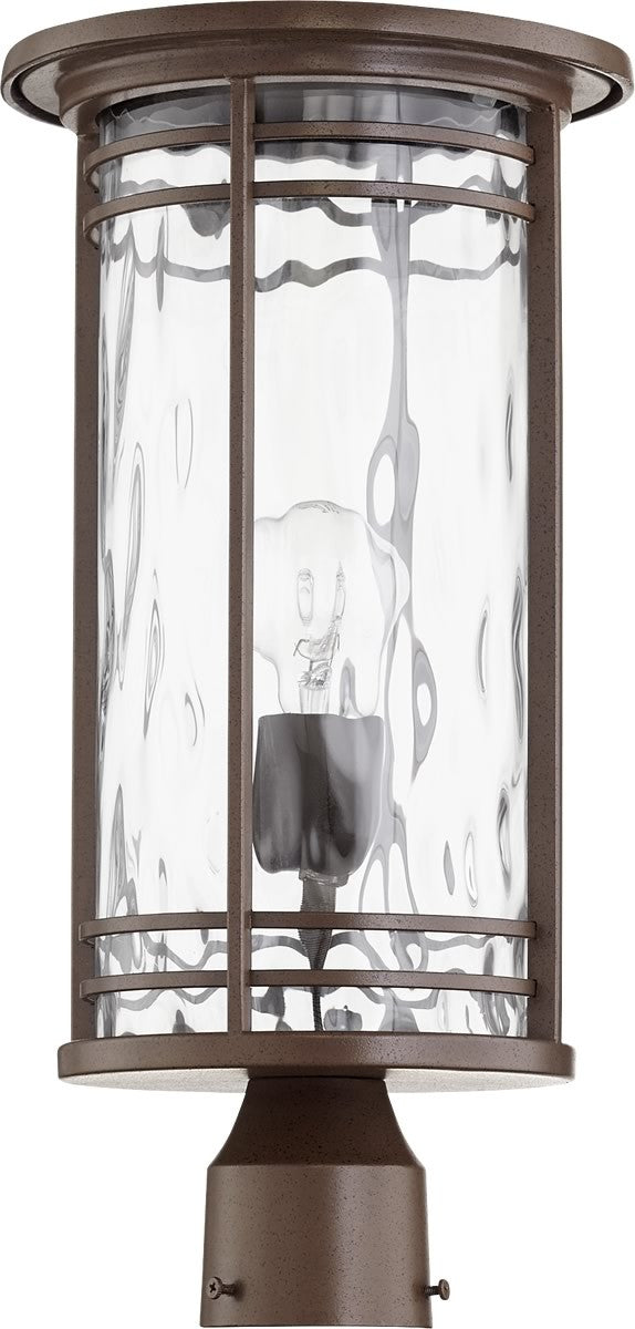 "19""H Larson 1-light Outdoor Post Lantern Oiled Bronze w/ Clear Hammered Glass"