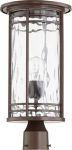 Quorum Larson 1-light Outdoor Post Lantern Oiled Bronze w/ Clear Hammered Glass