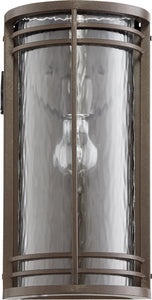 Quorum Larson 1-light Outdoor Wall Sconce Oiled Bronze w/ Clear Hammered Glass