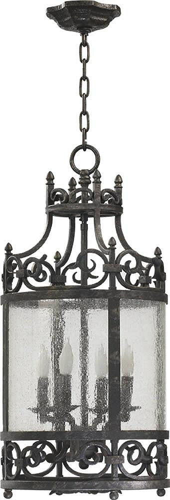 "12""W Lorenco 4-Light Hall/Foyer Pendant Spanish Silver"