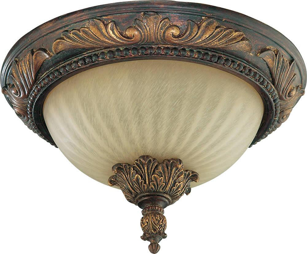 "14""W Madeleine 2-Light Flush Mount Fixture Corsican Gold"