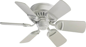 "30""W Medallion Hugger 6-Blade Ceiling Fan Studio White"