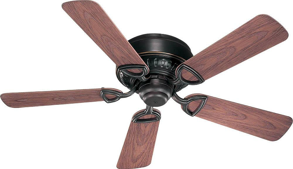 "42""W Medallion Patio Hugger Indoor/Outdoor 5-Blade Patio Ceiling Fan Old World"