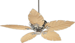 "52""W Monaco Patio Indoor/Outdoor 5-Blade Patio Ceiling Fan Satin Nickel"