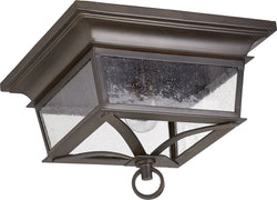 Quorum Pavilion 2-light Outdoor Flush Mount Oiled Bronze