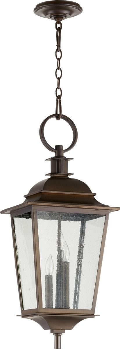 "12""W Pavilion 3-light Outdoor Pendant Light Oiled Bronze"