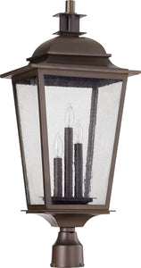 Quorum Pavilion 3-light Outdoor Post Lantern Oiled Bronze