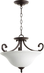Quorum Bryant 3-Light Opal Dual Mount Oiled Bronze 2854-18186