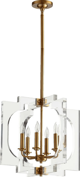Quorum Broadway 6-Light Pendant Aged Brass 605-6-80
