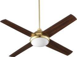 Quorum Quest 1-light LED Ceiling Fan Aged Brass