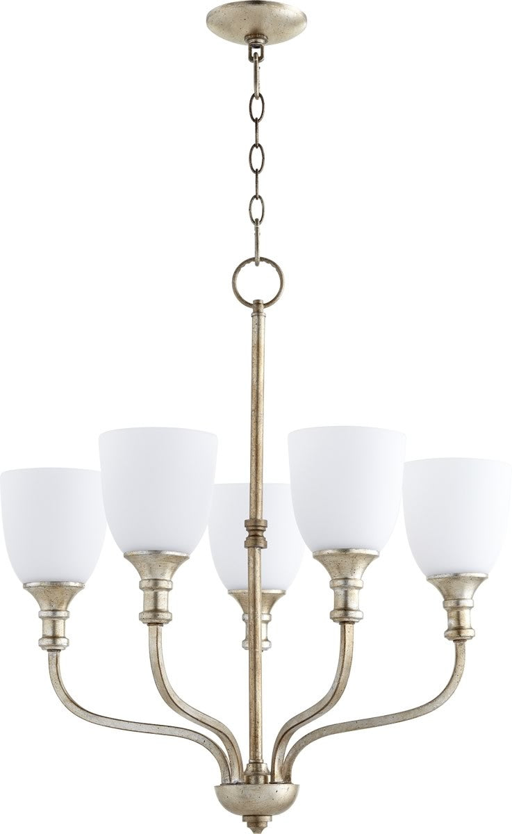 "24""W Richmond 5-light Chandelier Aged Silver Leaf"