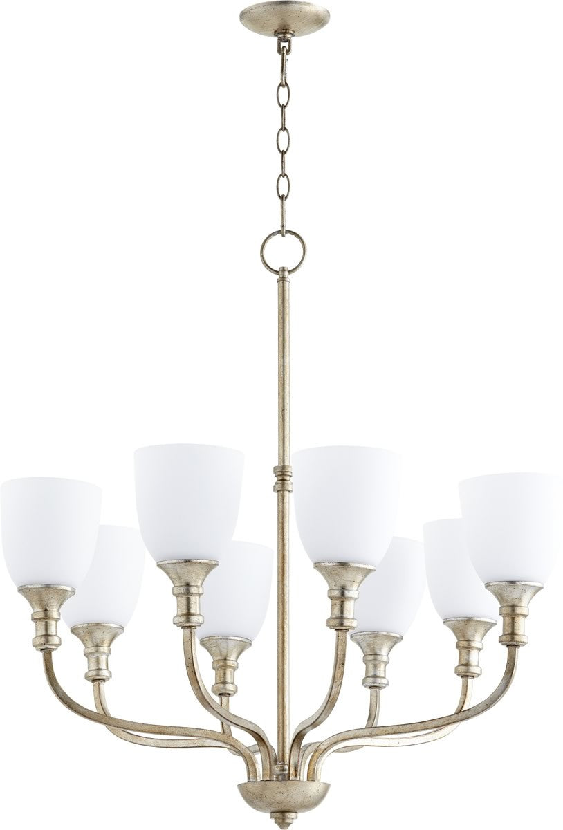 "31""W Richmond 8-light Chandelier Aged Silver Leaf"