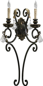 Quorum Rio Salado 2-Light Wall Sconce Toasted Sienna/Mystic Silver 5357244