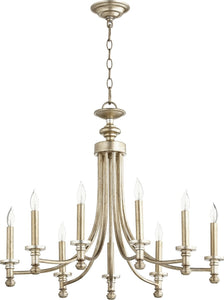 Quorum Rossington 9-light Chandelier Aged Silver Leaf