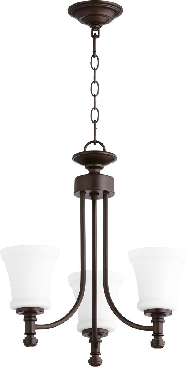 "18""W Rossington 3-light Chandelier Oiled Bronze"