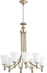 Quorum Rossington 8-light Chandelier Aged Silver Leaf